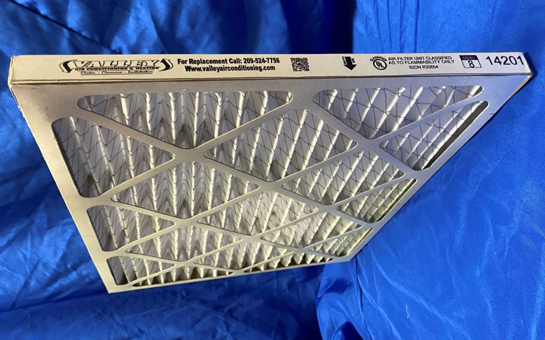 1-inch MERV 8 pleated filter.